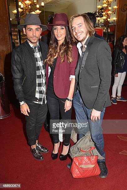 Alban Bartoli Sarah Kaddour and Adrien graf from Unissons Nos voix attend the '35th Nuit des Publivores' at Grand Rex September 17 2015 in Paris...