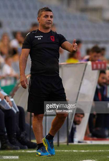 Alban Bushi head coach of Albania U21 reacts during the 2019 UEFA Under 21 qualifier match between Spain U21 and Albania U21 at Nuevo Arcangel...