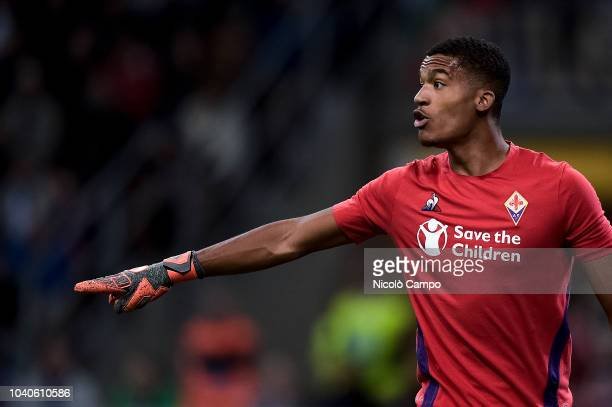 Alban Lafont of ACF Fiorentina gestures during the Serie A football match between FC Internazionale and ACF Fiorentina FC Internazionale won 21 over...