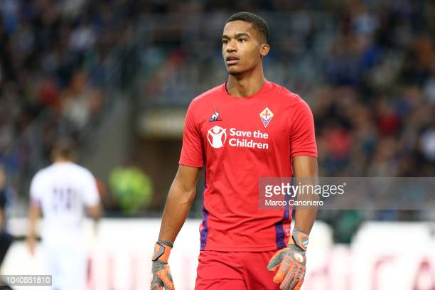 Alban Lafont of AFC Fiorentina during the Serie A match between FC Internazionale and ACF Fiorentina