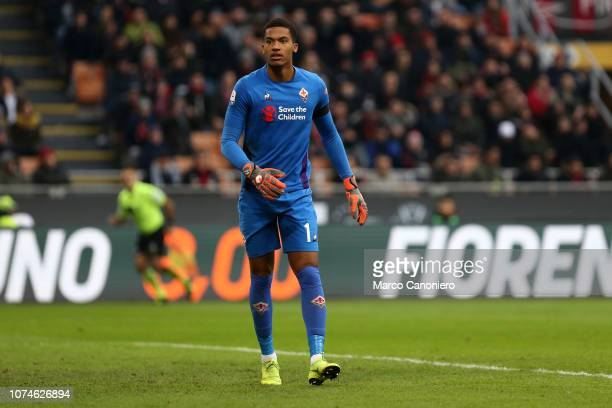 Alban Lafont of AFC Fiorentina in action during the Serie A match between Ac Milan and ACF Fiorentina Acf Fiorentina wins 10 over Ac Milan