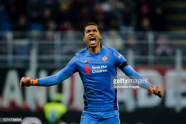 Alban Lafont of Fiorentina celebrate the 01 during the Italian Serie A match between AC Milan v Fiorentina at the San Siro on December 22 2018 in...