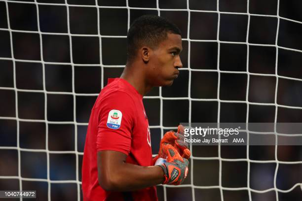 Alban Lafont of Fiorentina during the Serie A match between FC Internazionale v ACF Fiorentina at Stadio Giuseppe Meazza on September 25 2018 in...
