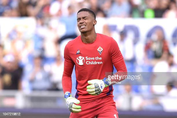 Alban Lafont of Fiorentina looks dejected during the Serie A match between Lazio and Fiorentina at Stadio Olimpico Rome Italy on 7 October 2018