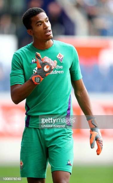 Alban Lafont of Florenz is seen during the final match between AC Florenz and FC Fulham at SchauinslandReisenArena on July 28 2018 in Duisburg Germany