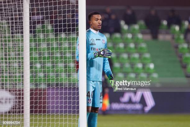 Alban Lafont of Toulouse during the Ligue 1 match between Metz and Toulouse at on March 3 2018 in Metz
