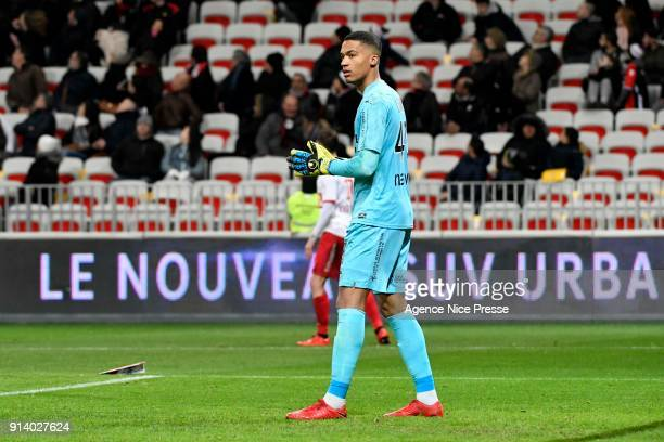 Alban Lafont of Toulouse during the Ligue 1 match between OGC Nice and Toulouse at Allianz Riviera on February 3 2018 in Nice