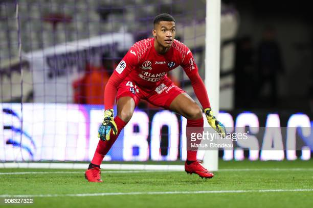 Alban Lafont of Toulouse during the Ligue 1 match between Toulouse and Nantes at Stadium Municipal on January 17 2018 in Toulouse