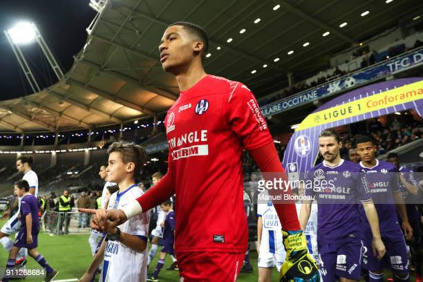 Alban Lafont of Toulouse during the Ligue 1 match between Toulouse and Troyes at Stadium Municipal on January 27 2018 in Toulouse