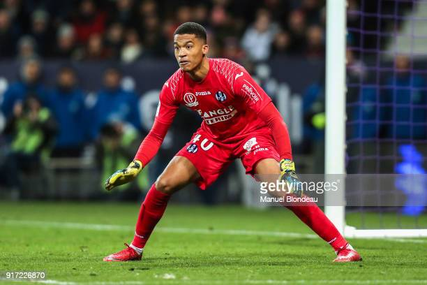 Alban Lafont of Toulouse during the Ligue 1 match between Toulouse and Paris Saint Germain at Stadium Municipal on February 10 2018 in Toulouse