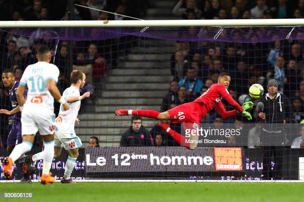 Alban Lafont of Toulouse during the Ligue 1 match between Toulouse and Olympique Marseille at Stadium Municipal on March 11 2018 in Toulouse