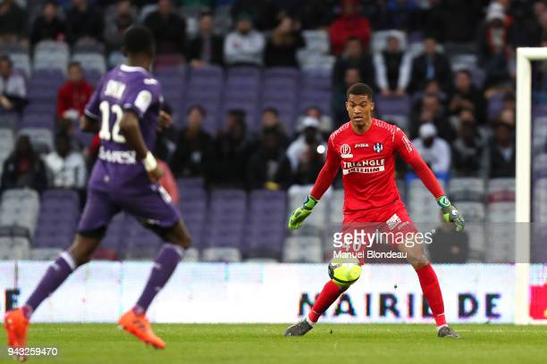 Alban Lafont of Toulouse during the Ligue 1 match between Toulouse and Dijon FCO at Stadium Municipal on April 7 2018 in Toulouse