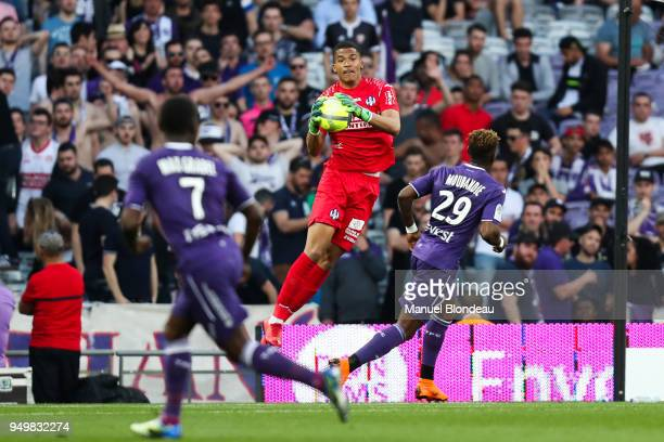 Alban Lafont of Toulouse during the Ligue 1 match between Toulouse and Angers SCO at Stadium Municipal on April 21 2018 in Toulouse