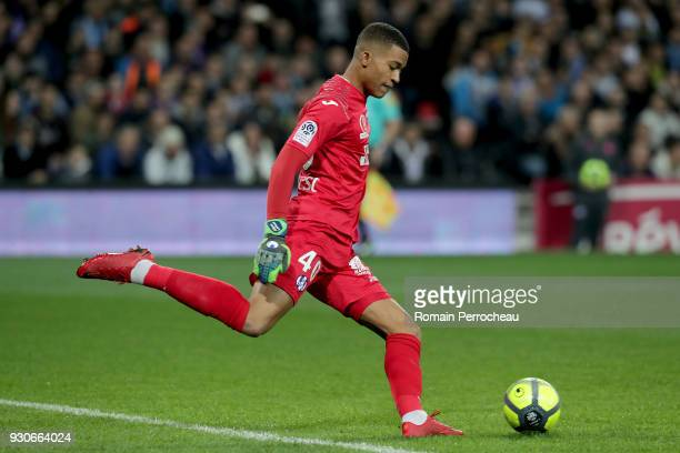 Alban Lafont of Toulouse in action during the Ligue 1 match between Toulouse and Olympique Marseille at Stadium Municipal on March 11 2018 in Toulouse