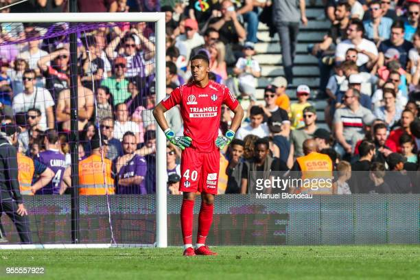 Alban Lafont of Toulouse looks dejected during the Ligue 1 match between Toulouse and Lille OSC at Stadium Municipal on May 6 2018 in Toulouse