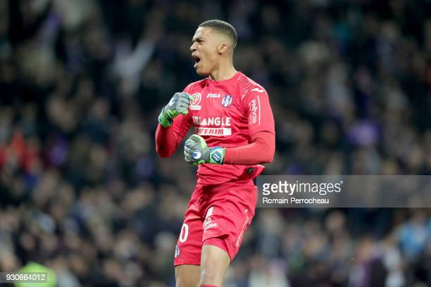 Alban Lafont of Toulouse rects after the goal of his team during the Ligue 1 match between Toulouse and Olympique Marseille at Stadium Municipal on...