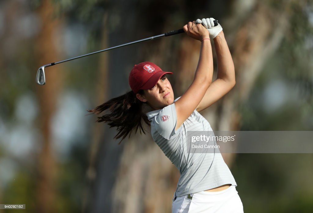 Albane Valenzuela of Switzerland an amateur from Stanford University plays her tee shot on the par 3, fifth hole during the second round of the 2018 ANA Inspiration on the Dinah Shore Tournament Course at Mission Hills Country Club on March 30, 2018 in Rancho Mirage, California.