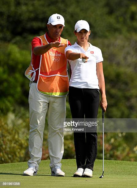 Albane Valenzuela of Switzerland on the 4th green during the third round of the Women's Individual Stroke Play golf on day 14 of the Rio Olympics at...