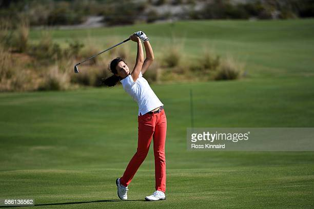 Albane Valenzuela of Switzerland plays a shot during a practice round at the Olympic Golf Course prior to the Rio 2016 Olympic Games on August 5 2016...
