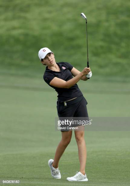 Albane Valenzuela of Switzerland plays her second shot on the 16th hole during the final round of the 2018 ANA Inspiration on the Dinah Shore...