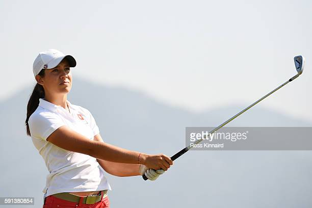 Albane Valenzuela of Switzerland plays her shot from the fourth tee during the First Round of Women's Golf at Olympic Golf Course on Day 12 of the...
