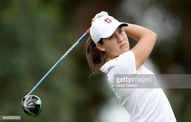 Albane Valenzuela of Switzerland plays her tee shot on the par 4 16th hole during the third round of the 2018 ANA Inspiration on the Dinah Shore...