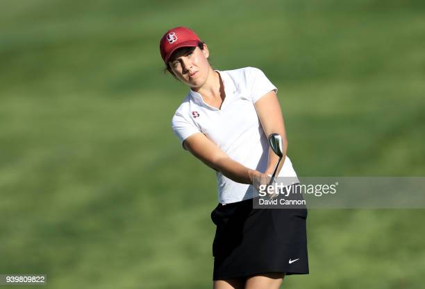 Albane Valenzuela of Switzerland plays her third shot on the par 5 second hole during the first round of the 2018 ANA Inspiration on the Dinah Shore...