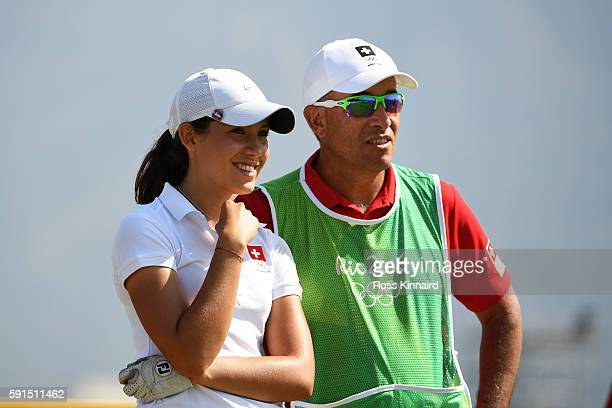 Albane Valenzuela of Switzerland prepares to play from the fourth tee during the First Round of Women's Golf at Olympic Golf Course on Day 12 of the...