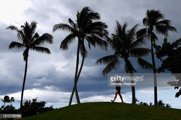 Albane Valenzuela of Switzerland walks to the ninth hole during the second round of the LPGA LOTTE Championship at Kapolei Golf Club on April 15,...
