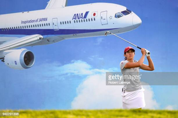 Albane Valenzuela of Swtizerland makes a tee shot on the eighth hole during round two of the ANA Inspiration on the Dinah Shore Tournament Course at...