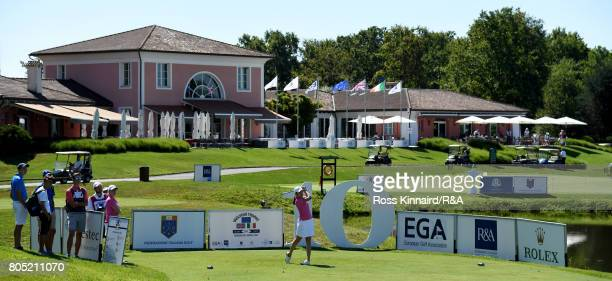 Albane Valenzuela of the Continent of Europe team in action during the morning Foursomes in the Vagliano Trophy at Golf Club Bogogno on July 1 2017...