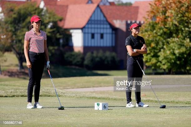 Albane Valenzuela of the Stanford Cardinal and Jennifer Chang of the USC Trojans stand on the sixth tee during day three of the 2018 East Lake Cup at...