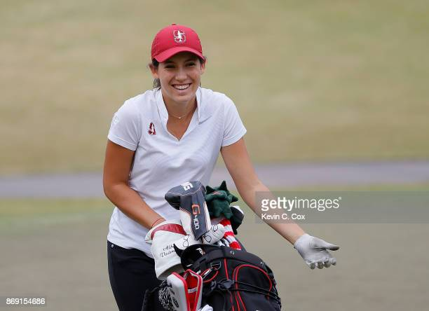 Albane Valenzuela of the Stanford Cardinal reacts as she walks the 16th green during day three of the 2017 East Lake Cup at East Lake Golf Club on...