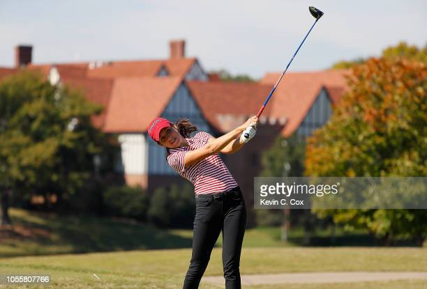 Albane Valenzuela of the Stanford Cardinal tees off the sixth tee during day three of the 2018 East Lake Cup at East Lake Golf Club on October 31...