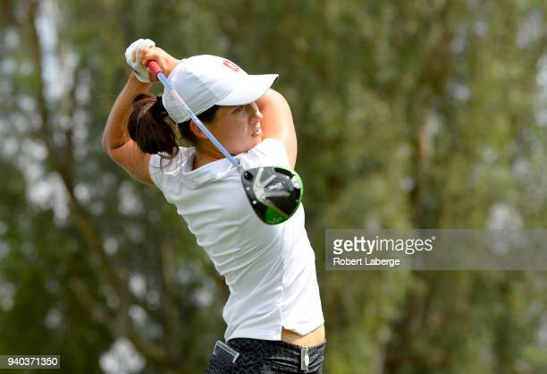 Albane Valuenzela of Switzerland makes a tee shot on the third hole during round three of the ANA Inspiration on the Dinah Shore Tournament Course at...