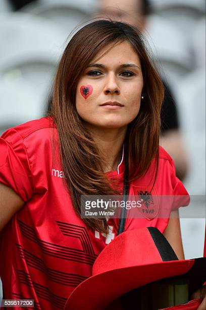 Albania fan during GroupA preliminary round between Albania and Switzerland at Stade BollaertDelelis on June 11 2016 in Lens France