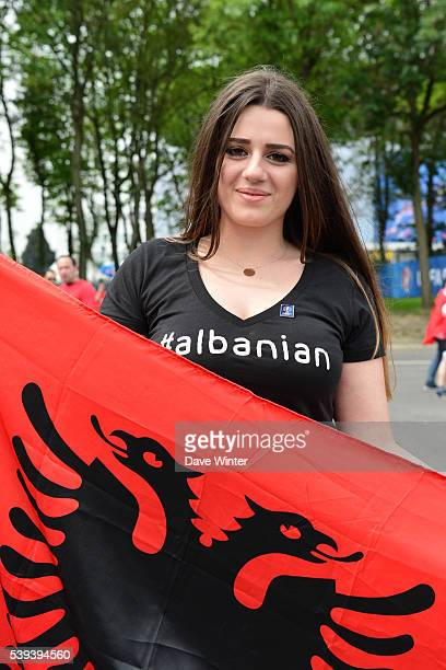 Albania fans before the GroupA preliminary round between Albania and Switzerland at Stade BollaertDelelis on June 11 2016 in Lens France