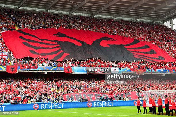 Albania fans during GroupA preliminary round between Albania and Switzerland at Stade BollaertDelelis on June 11 2016 in Lens France