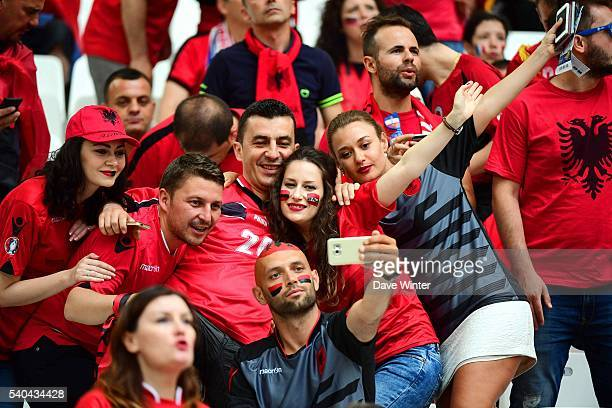 Albania fans during the UEFA EURO 2016 Group A match between France and Albania at Stade Velodrome on June 15 2016 in Marseille France