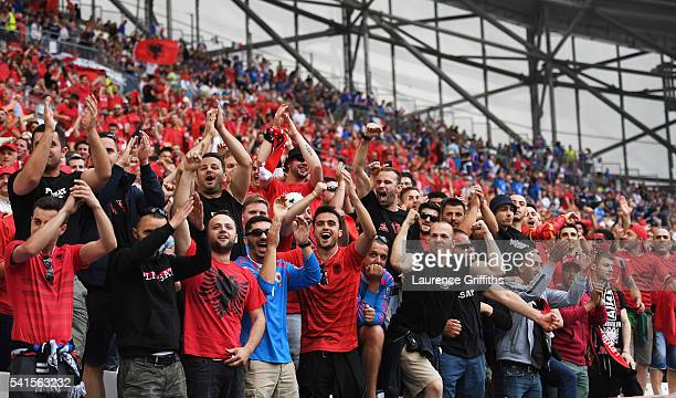 Albania fans enjoy the pre match atmosphere during the UEFA EURO 2016 Group A match between France and Albania at Stade Velodrome on June 15 2016 in...