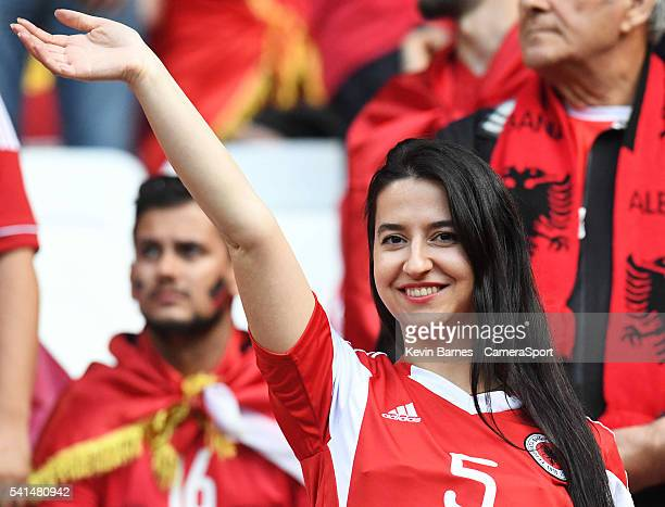Albania fans enjoy the prematch build up to the UEFA Euro 2016 Group A match between Romania and Albania at Stade de Lyon on June 19 in Lyon France