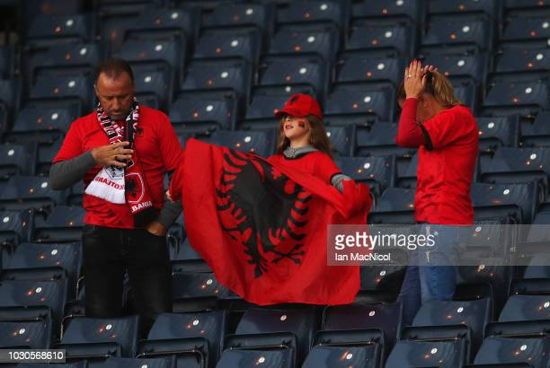 Albania fans look on prior to the UEFA Nations League C Group One match between Scotland and Albania at Hampden Park on September 10, 2018 in...