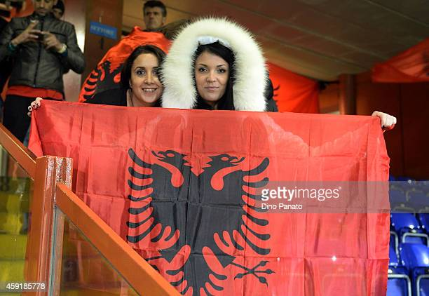 Albania fans shows their support a prior the International Friendly match between Italy and Albania at Luigi Ferraris on November 18 2014 in Genoa...
