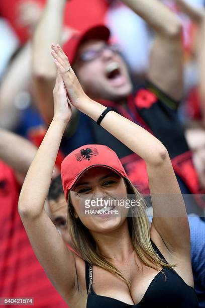 Albania fans wait for the start of the Euro 2016 group A football match between France and Albania at the Velodrome stadium in Marseille on June 15...