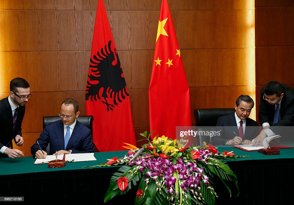 Albania Foreign Minister Visits China : News Photo