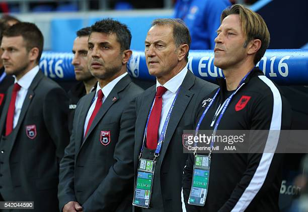 Albania head coach Gianni De Biasi during the UEFA EURO 2016 Group A match between Romania and Albania at Stade des Lumieres on June 19 2016 in Lyon...