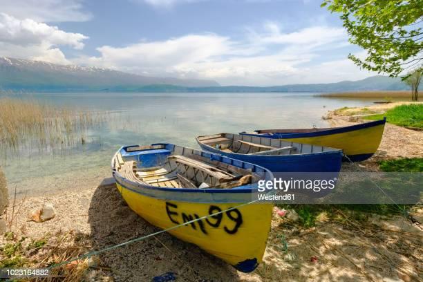 albania, korca, lake ohrid - lake ohrid stock photos and pictures