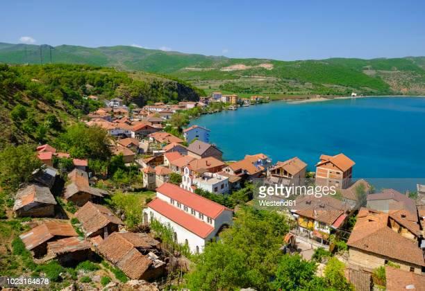 albania, korca, lin, lake ohrid - albanië stockfoto's en -beelden