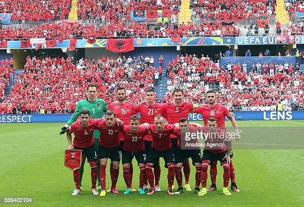Albania national football team players are seen prior the Euro 2016 group A football match between Albania and Switzerland at the BollaertDelelis...