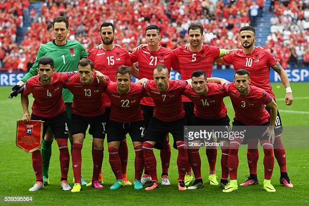 Albania players line up for the team photos prior to the UEFA EURO 2016 Group A match between Albania and Switzerland at Stade BollaertDelelis on...